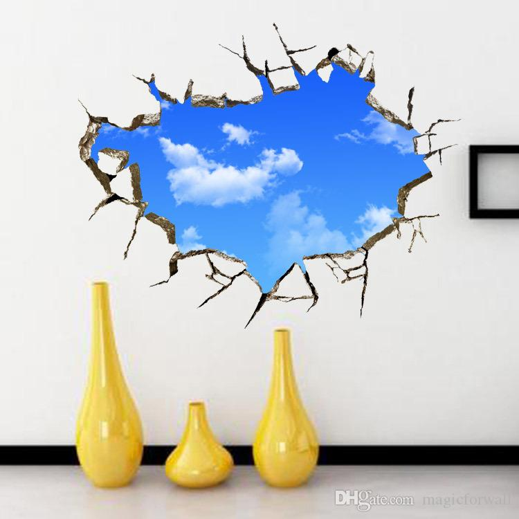 3d Cracked Blue Sky Wall Art Mural Decor Ceiling Wall Decoration Poster Diy  Home Art Decal Poster Wall Applique Sticker Wall Decals For Girls Room Wall  ...