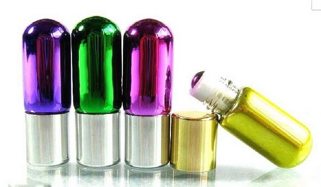 Refillable 3ML ROLL ON GLASS BOTTLES ESSENTIAL OIL Metal Stainless Steel Roller ball PERFUME by DHL/Fedex