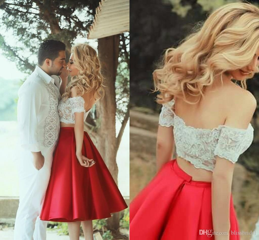 cd32bf501f2f57 Two Pieces Arabic Prom Dresses Red Skirts With Lace Crop Top Off The  Shoulder Summer Sexy Women Gowns Party Dresses 2015 Prom Dress Big Prom  Dresses From ...