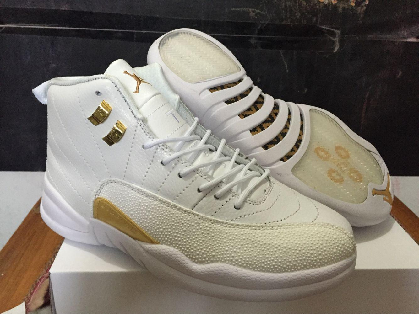 Original 2016 Nike Air Jordan 12 XII Retro OVO AJ12 Golden White Basketball Shoe for Men