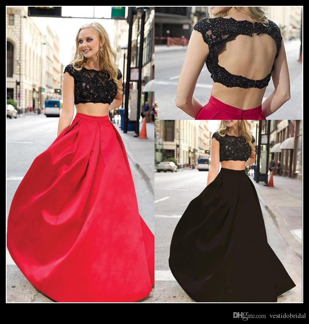 Beautiful Two Pieces Prom Dresses 2015 Red And Black Lace Satin ...