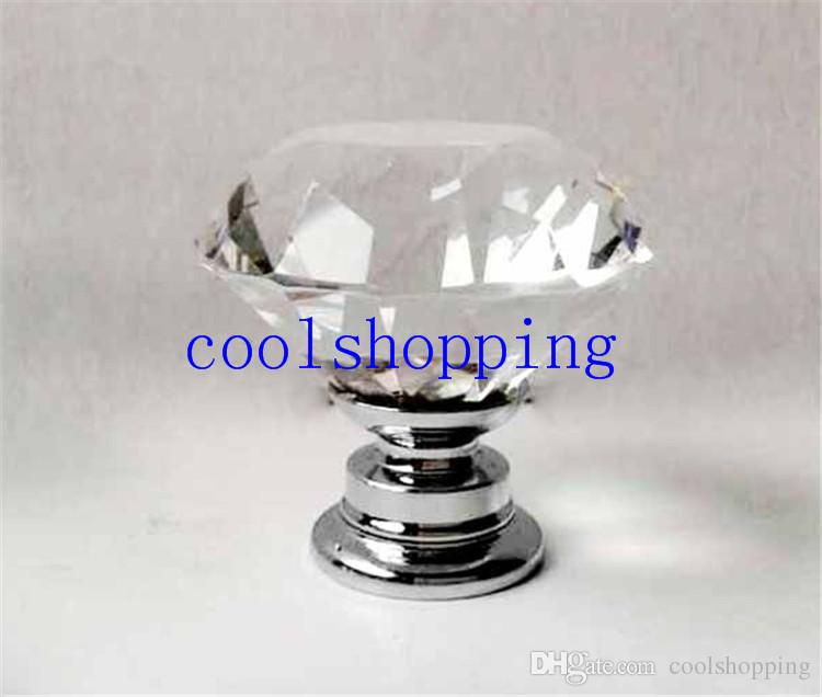 40mm Clear Diamond Shape Crystal Glass Pull Handle Cupboard Cabinet Drawer Door Furniture Knob