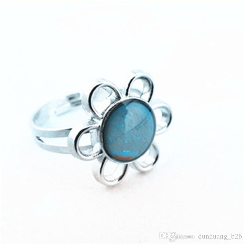 Nastrój Ring Darmowa Wysyłka Hurtownie 100 sztuk Mood Ring Color Zmień magię pierścienia zespołu słonecznika