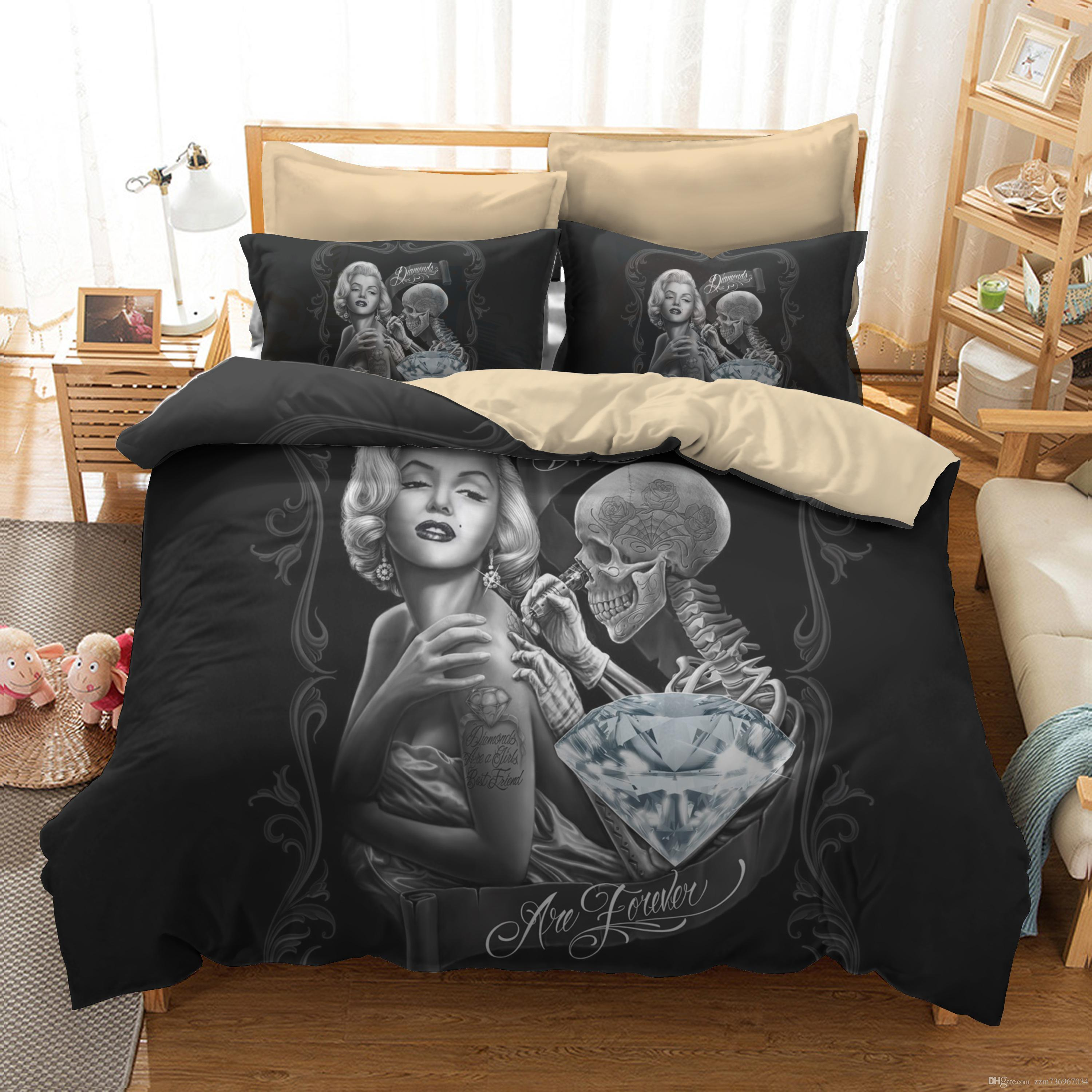 Bedroom Decor Sexy Marilyn Monroe 3d Skull Print Bedding