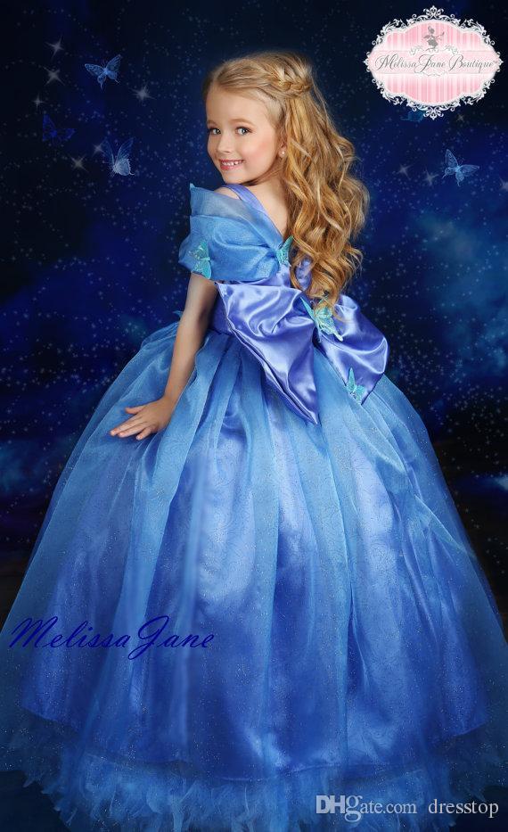 Cenerentola, piccole ragazze, abiti da spettacolo, farfalla, appliqued, collo quadrato, pavimento-lunghezza, paillettes, fiore, ragazza, vestito, pieghettato, bambini, abiti, con, arco
