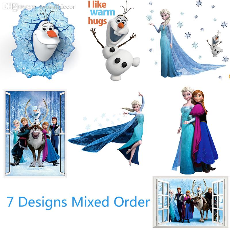 Dhl Ship Removable Elsa Frozen Wall Stickers Frozen Decoration Princess  Decorative Wall Decall For Kids Rooms Poster Wall Pape Art Wall Accents  Stickers ...