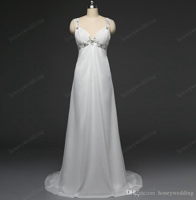 Cheap Maternity Beach Wedding Dresses With Spaghetti Straps Embroidery Sequin Beaded Draped Chiffon White Ivory Bridal Gowns Under 100