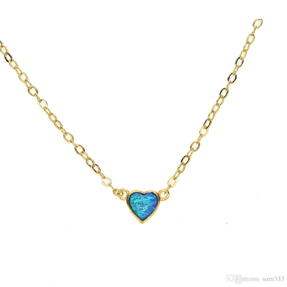 Wholesale 2017 gold filled blue fire opal heart pendant necklaces wholesale 2017 gold filled blue fire opal heart pendant necklaces for women fashion wedding party heart chain necklaces jewellry gift necklace pendants aloadofball Choice Image