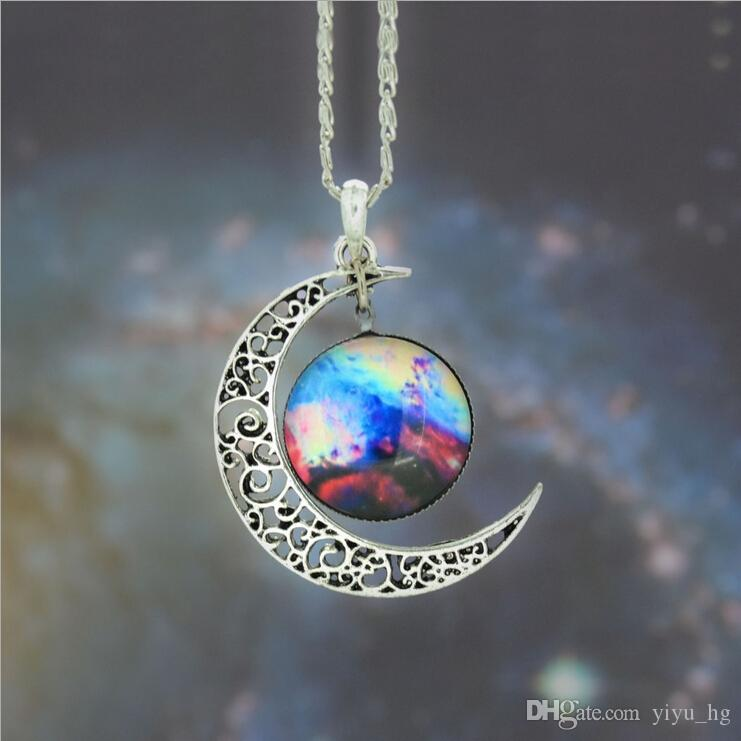 Vintage moon necklace starry Moon Outer space Universe Gemstone necklaces pendants Chain jewelry Children Accessories
