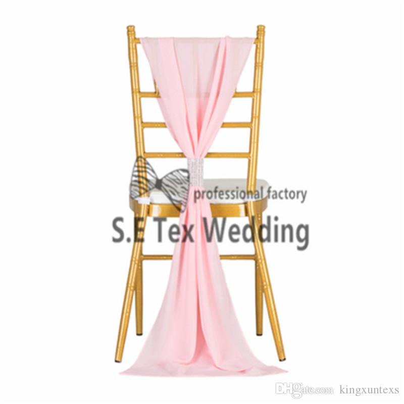 35cm*190cm Chiavari Chiffon Chair Sash With Buckle For Wedding And Event Decoration