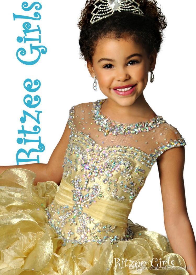 Glitz Ritzee Gold Kristall Perlen Geraffte Rüschen Organza Mädchen Festzug Kleider 2015 Sparkly Günstige Blume Mädchen Kleider Für Hochzeit Kleider
