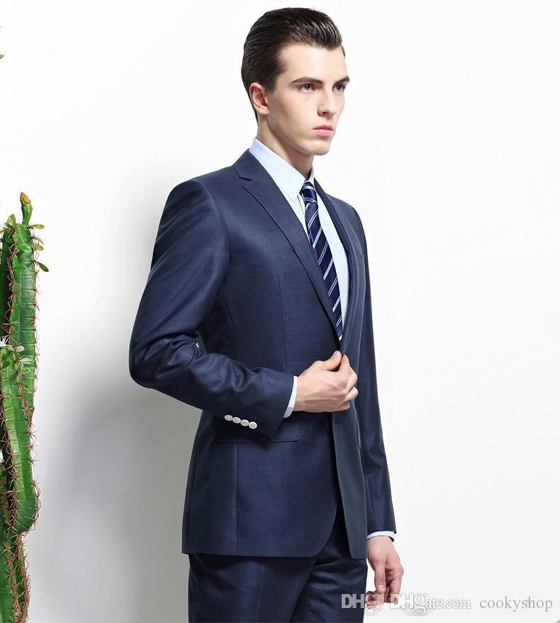 fashion style New Arrival Notched Lapel Royal Blue Groom Tuxedos Slim Fit Best Men's Wedding Dress Prom ClothingJacket+pants