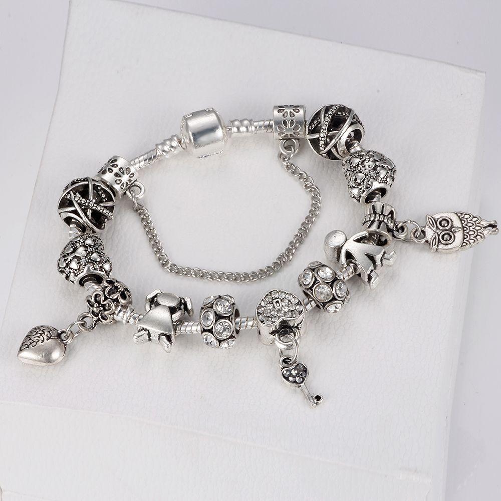 HOMOD 2018 Vintage Charm Bracelet Couple & key Beads Silver Color Snake Chain Pandora Bracelet Women Diy Jewelry