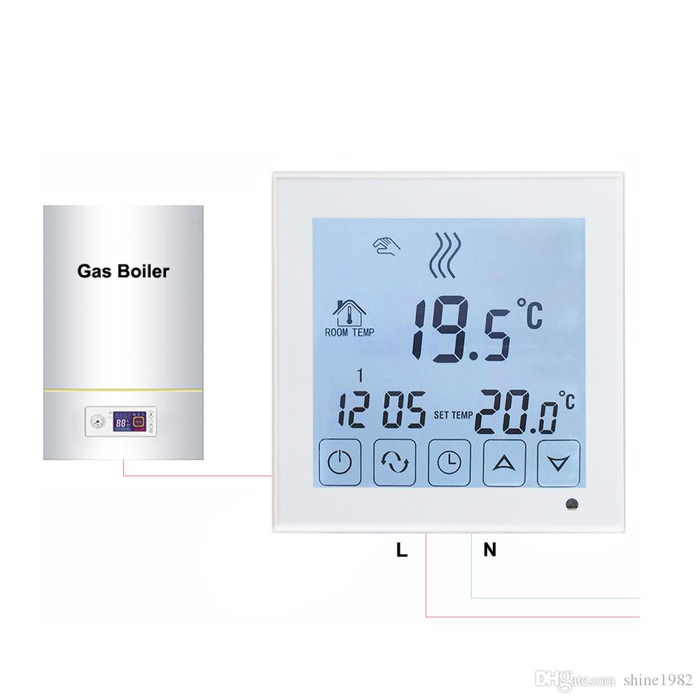 2018 Bot323 Larger Lcd Touch Screen Boiler Heating Thermostat Wired ...