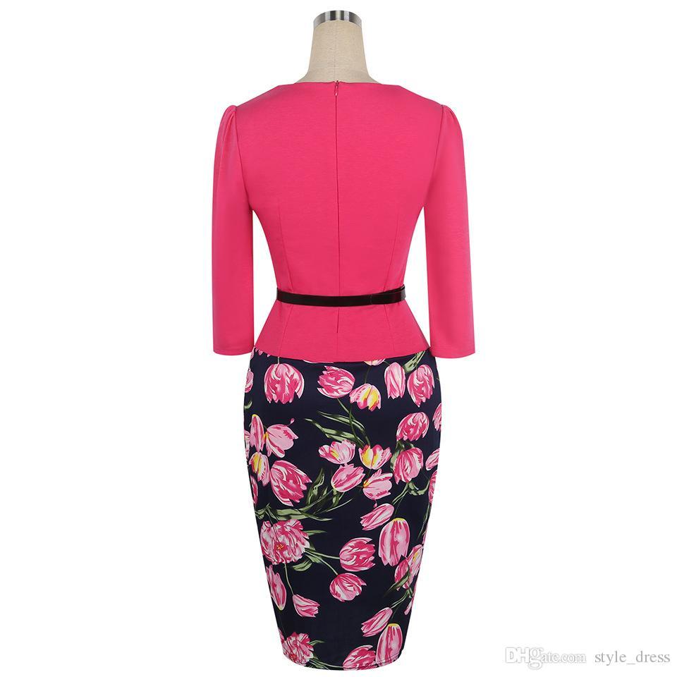 großhandel frauen bodycon büro party kleid 3/4 Ärmel floral bedruckt  patchwork gefälschte zwei stück belted pencil dress von style_dress, $20.11  auf