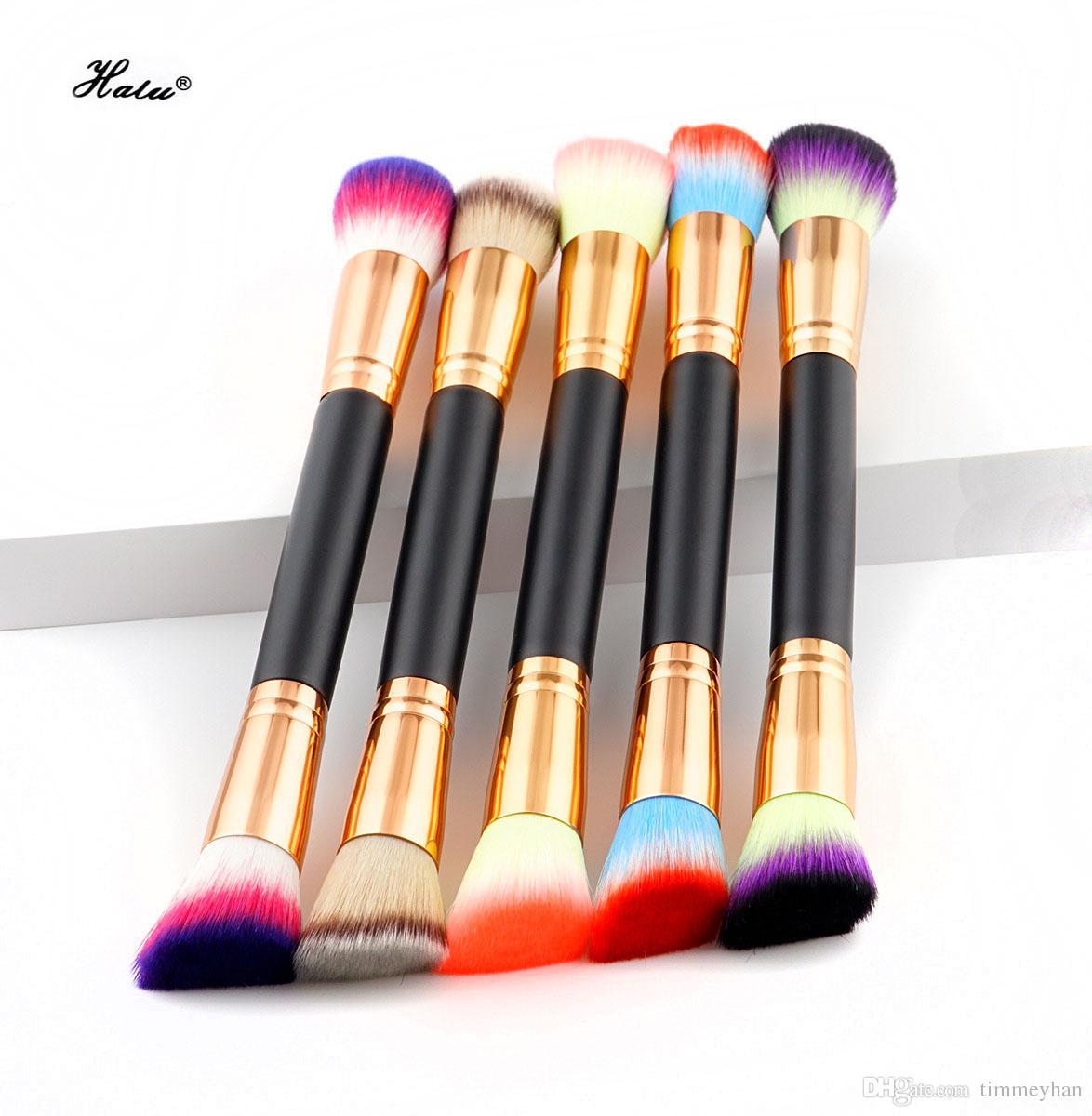 HaLu Professional Foundation Double Tête Brosse De Maquillage Ventilateur Mélange De Maquillage Poudre Blush Pinceau Double End Brosses De Maquillage