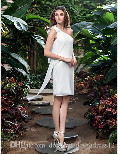 2016 New Fashion Popular Ivory Short/Mini One Shoulder Flowers Chiffon Sheath/Column Outdoor Wedding Dresses 166