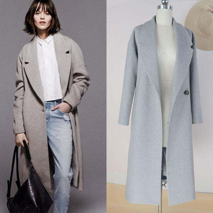 2018 Best Quality Womens Light Blue Sheath Slim Coat Fashion One ...