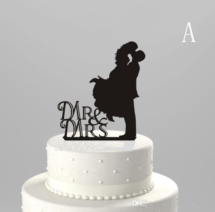 Cheap Black Acrylic Wedding Monogram Cake Topper Wholesale Decorations New Design 10 Styles Toppers Unique Garden