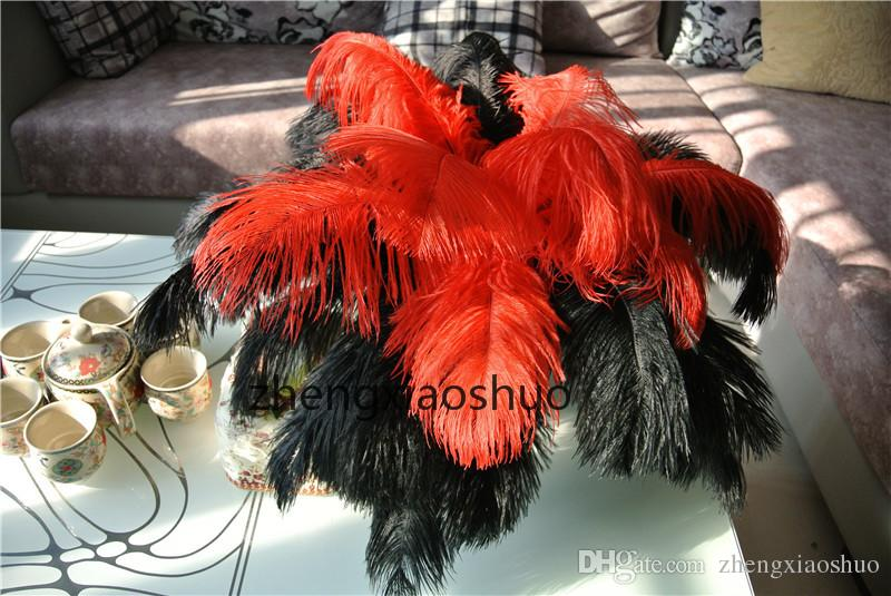wholesale 14-16inch35-40cm Ostrich Feather Plume Red and Black,Table Decoration wedding centerpiece decor party supply