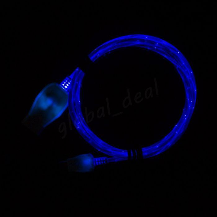 Hot Sell Light Up LED Flowing Micro USB Cable 1M 3FT Stream Micro USB Charger Data Cable for Samsung S5 S6 Christmas Decoratio w/Opp Bag
