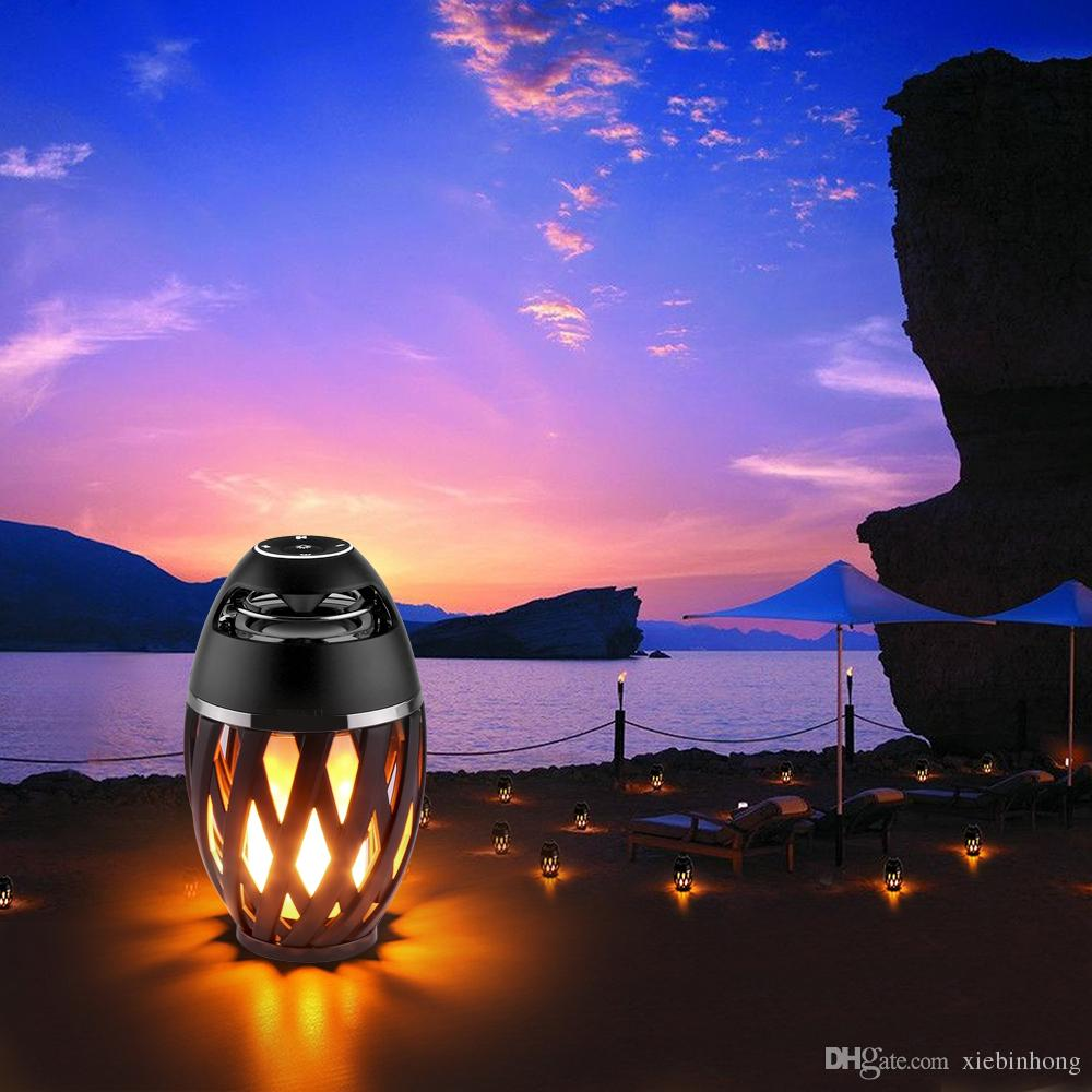 2017 new Portable IP65 Speaker Bluetooth BT4.2 Led Flame Lamp Stereo Soft Light Outdoor Speaker For iPhone iPad Android