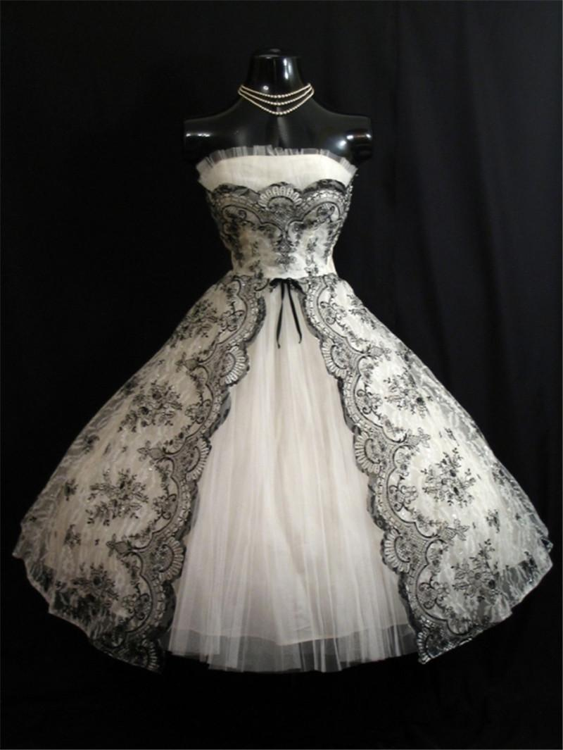 Discount Vintage 1950s Black White Short Wedding Dresses 2016 A Line