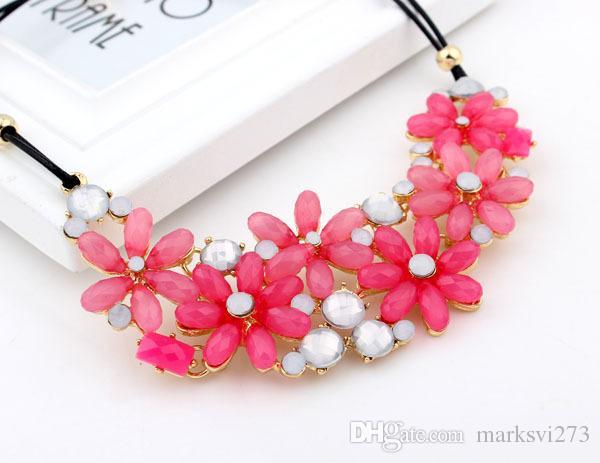 2014 nuova moda bolla goccia collare gioielli collana del choker del fiore della caramella dichiarazione di colore gioielli bijoux partito SS9209