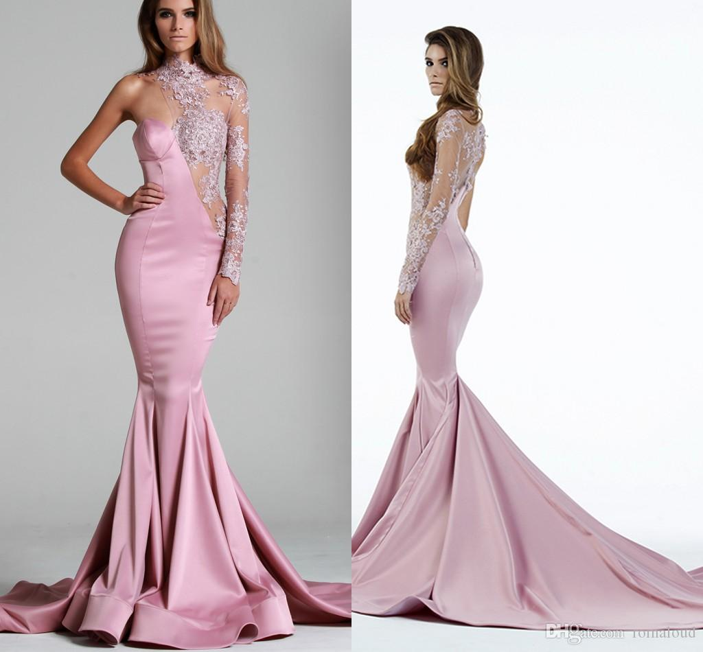 2016 Pink Evening Dresses One Sleeves Lace Illusion See Through ...