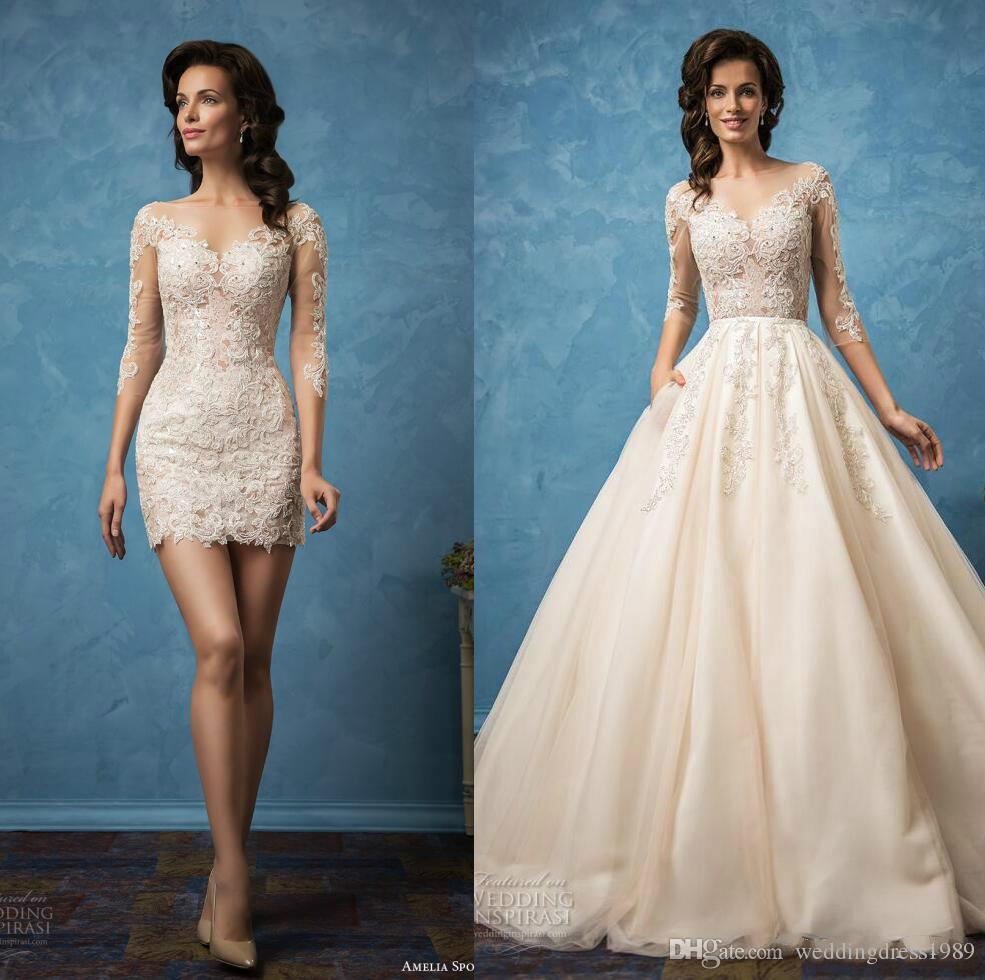 Discount Luxury Lace 3/4 Long Sleeve Wedding Dresses With Detachable ...
