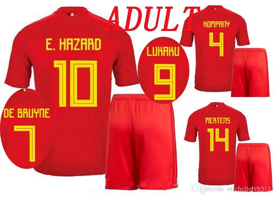 sale retailer 9deb9 9c4c2 2018 Belgium Jersey LUKAKU HAZARD DE BRUYNE Football Set Chandal Futbol  Adult Thai Qualtiy Sports Suit Belgium World Cup 2018 Soccer Uniform