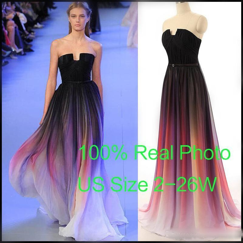 Cheap 2015 Elie Saab Evening Prom Dresses Belt Backless Gradient Color Black Chiffon Formal Occasion Party Gowns Real Photos Plus Size Sexy