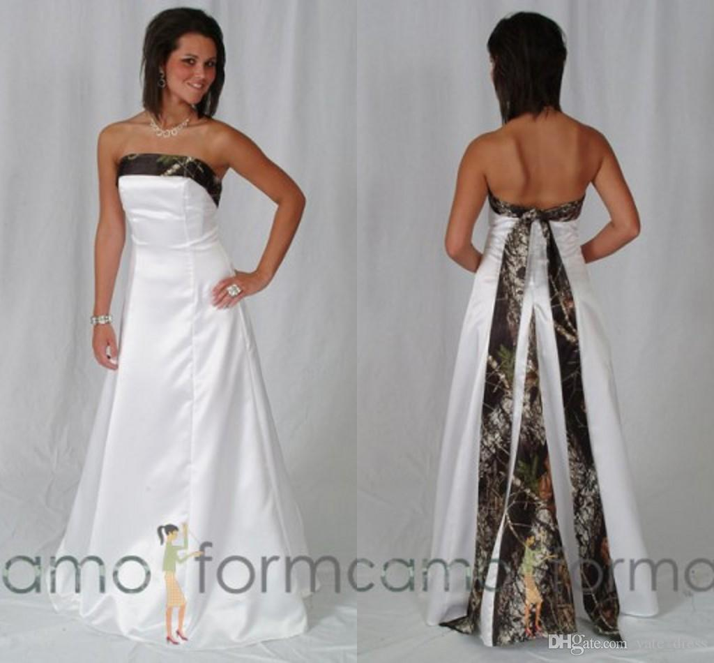 Discount 2015 Camo Wedding Dresses Strapless Sleeveless Lace Up Back ...