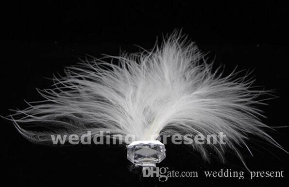 White Feather Wedding Hair Pins Bridesmaid Small U Hairpins Girl Hairbands Clips for Prom Party Bridal Accessories 2015 with Rhinestone