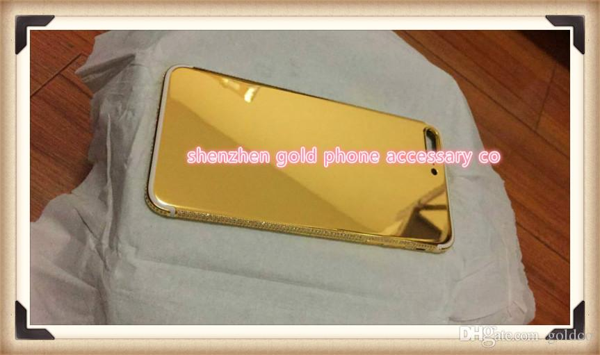 2017 Real Gold Diamond Plating Back Housing Cover Skin Battery Door For Iphone 7 New Luxury 24k Plus From Goldco