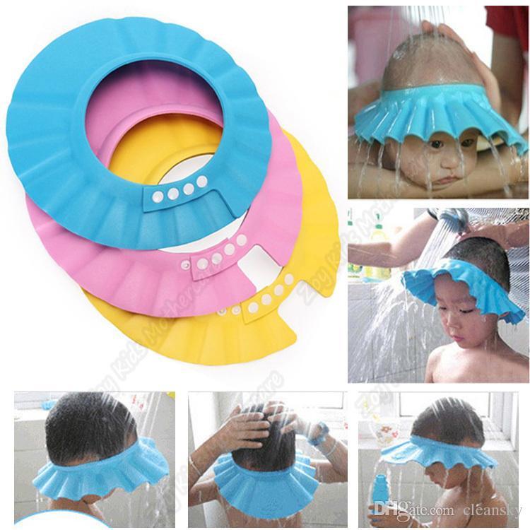 Awesome Adjustable Infant Shampoo Cap Bath Cap Baby Shower Shampoo Waterproof Cap  Hat Bathing Shower Cap Hat Wash Hair Shield Hat Cap 1000P