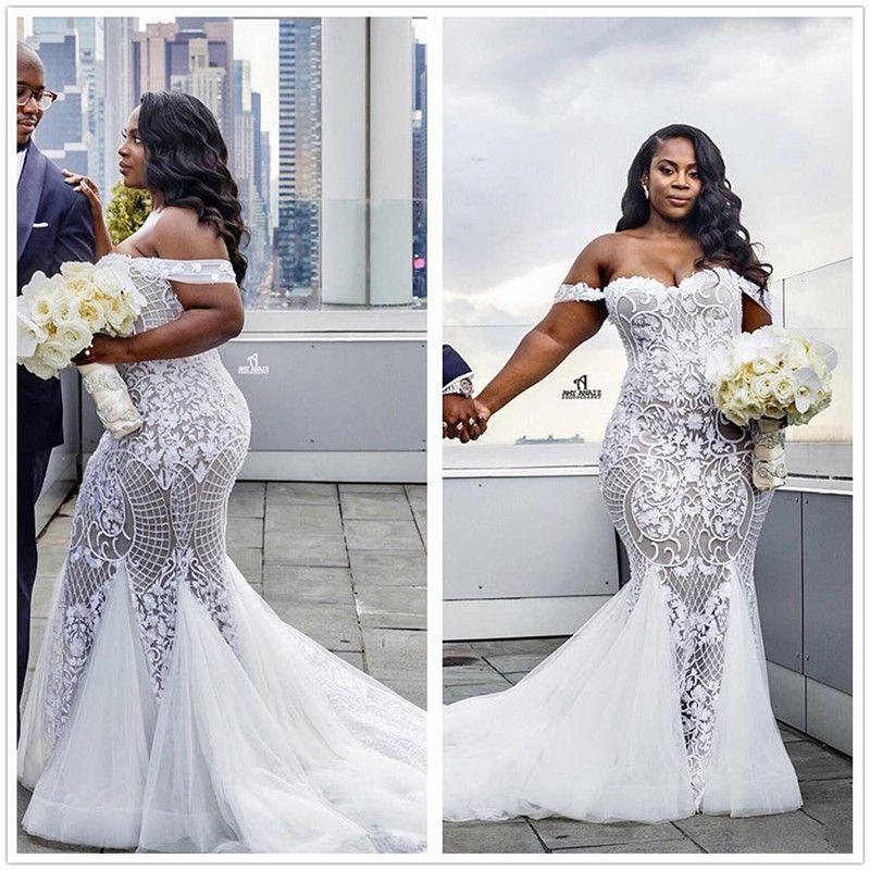 f40c4f327 Elegant Plus Size Lace Mermaid Wedding Dresses Off The Shoulder Tulle  Appliqued Court Train Bridal Gowns Robe De Soriee 2018 Taffeta Mermaid  Wedding Dress ...