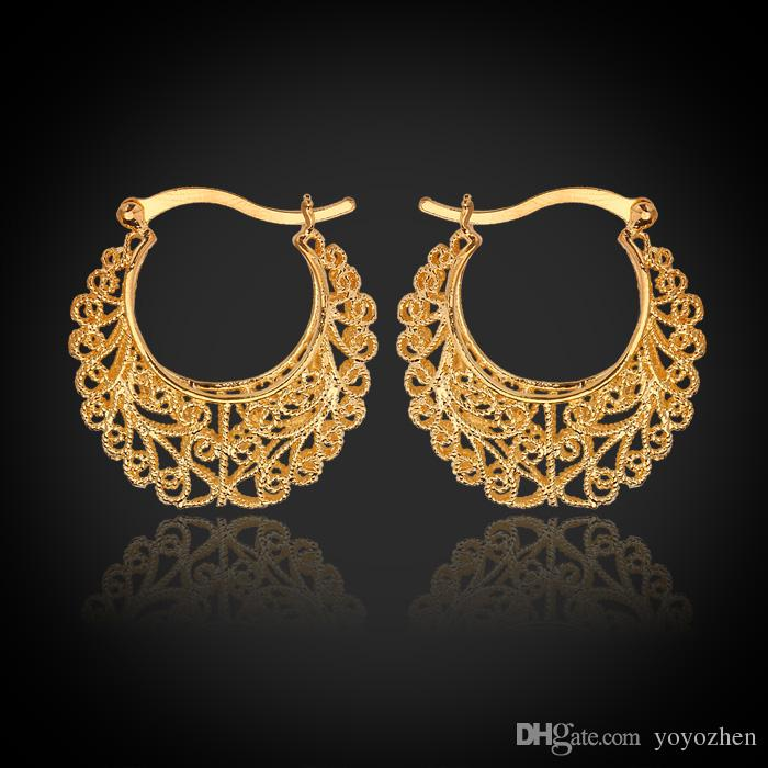 Hot Item 18K Real Gold Plated Hollow Flowers Hoop Earrings Basketball Wives Earrings Fashion Jewelry for Women Wholesale