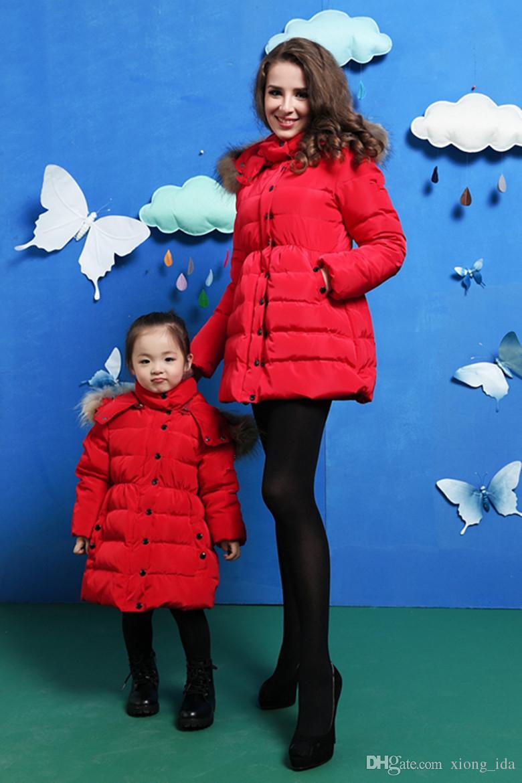 Yüksek kalite Moda Kış Avrupa Fransız Tasarımcı Kırmızı Pembe Uzun Ördek Aşağı Ceket Ceket Çocuklar Kızlar Için Lüks Rakun Kürk Yaka