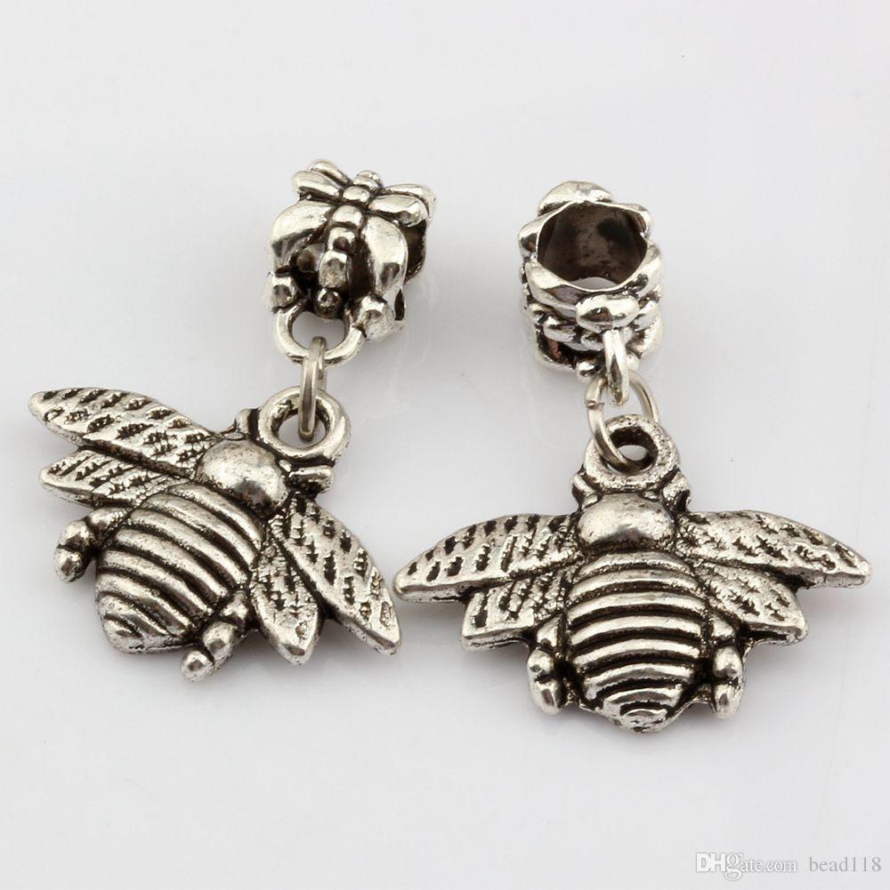 Chaud! Antique argent Bees Charmes Dangle Bead Fit Bracelet à Breloques Bijoux DIY 28 * 21mm