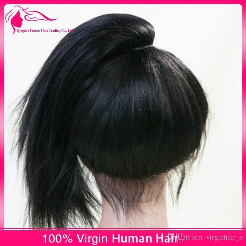 Moğol 9A İnsan Saç Yaki Düz Dantel Ön Peruk Bebek Saç Doğal Saç Hattı Tutkalsız Yaki Düz Tam Dantel Peruk