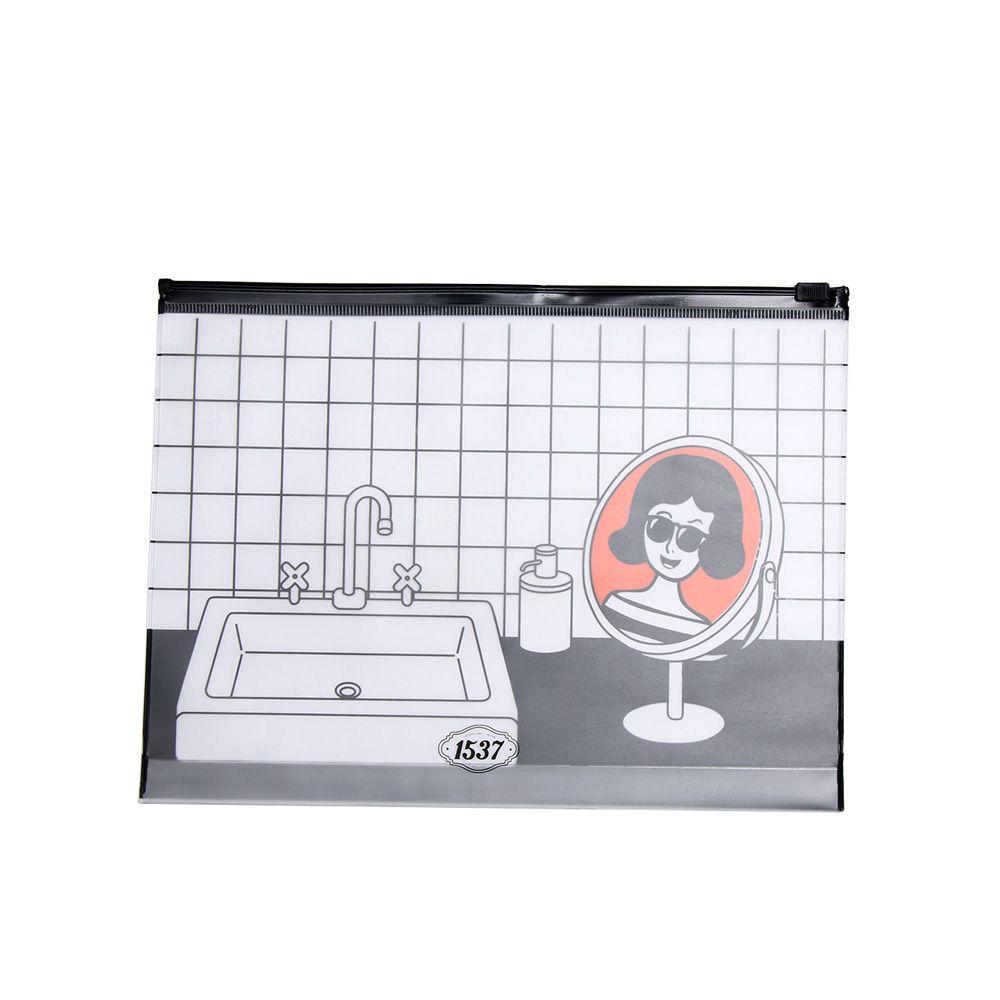 1 ADET Moda PVC Makyaj Çantası Fermuar Karikatür Şeffaf Kozmetik Çantası Kişilik Tuvalet Tutucu Kozmetik Depolama Kılıfı