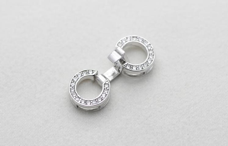 Commercio all'ingrosso libero degli accessori della perla di trasporto Yu fu yuan intarsio d'argento 925 Rhinestone doppio cerchio collana di perle braccialetto fibbia YPJ36