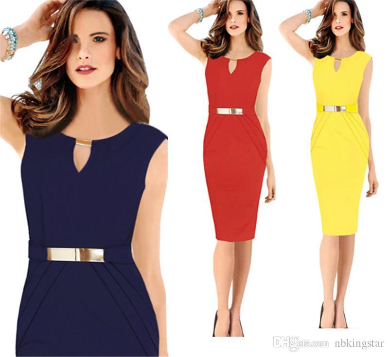 5e2022db109 Elegant Women Summer Sexy Ladies  Prom Dress V-Neck Fashion Pencil Office  Party Slim Sleeveless Bodycon OL Dress Yellow Red Navy Blue V-neck  Sleeveless ...