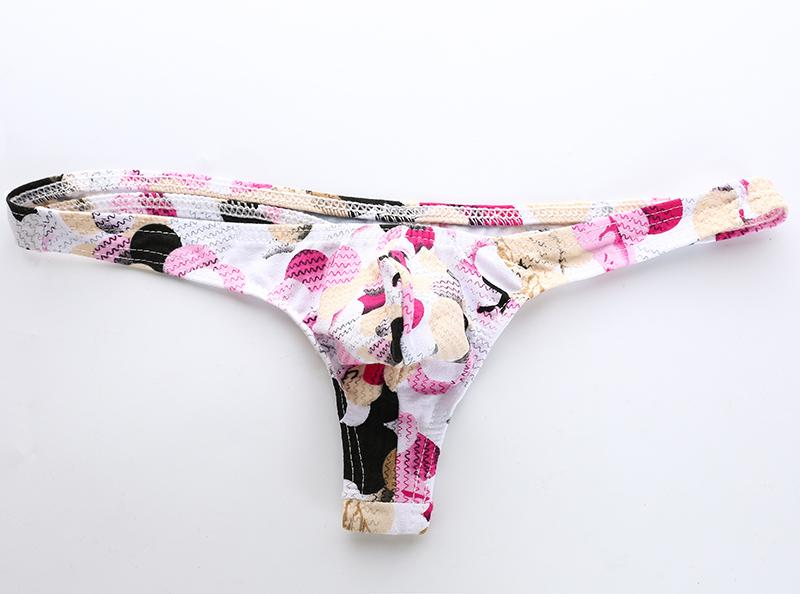 Bolsita erótica sexy para hombre Bikini Tanga Tanga Cómoda Algodón Ropa interior para hombres Gay Boy Calzoncillos con estampado floral colorido Tanga Calzoncillos masculinos