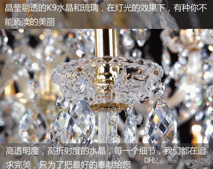 Ücretsiz Kargo Fabrika Doğrudan Satış Otel Temizle Mum kristal Işık Avize K9 Kristal D1200mm H1300mm Mum lamba