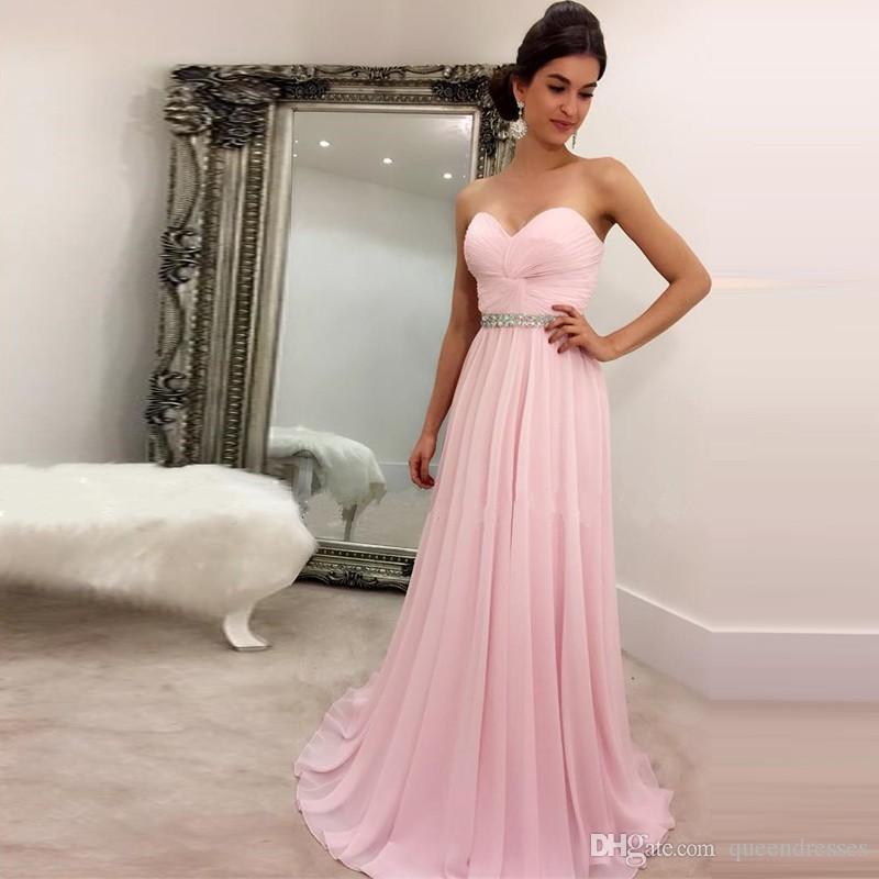 Cheap Long Evening Dresses Chiffon Pink Evening Gowns Sweetheart ...