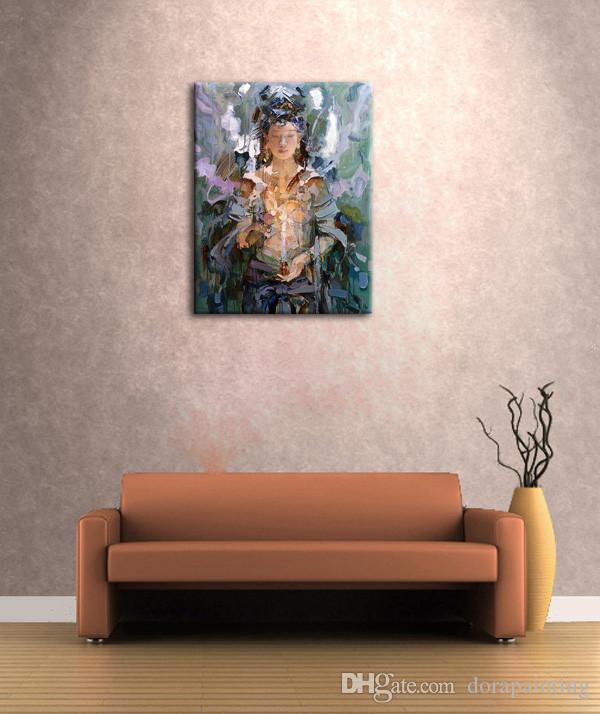 손으로 만든 아시아 boudddha 유화 여신 부처님 캔버스 벽 예술 종교 사진 중국에서 장식 T1P33