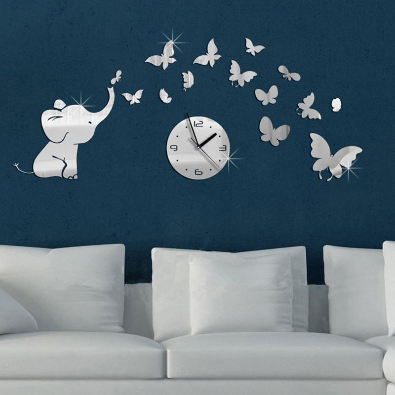 Diy Butterfly 3d Mirror Wall Clock Children Decorative Mirrors Living Room  Wall Clock Sticker /Relogio De Parede/Reloj De Pared Decor Clock Decor  Clocks ...