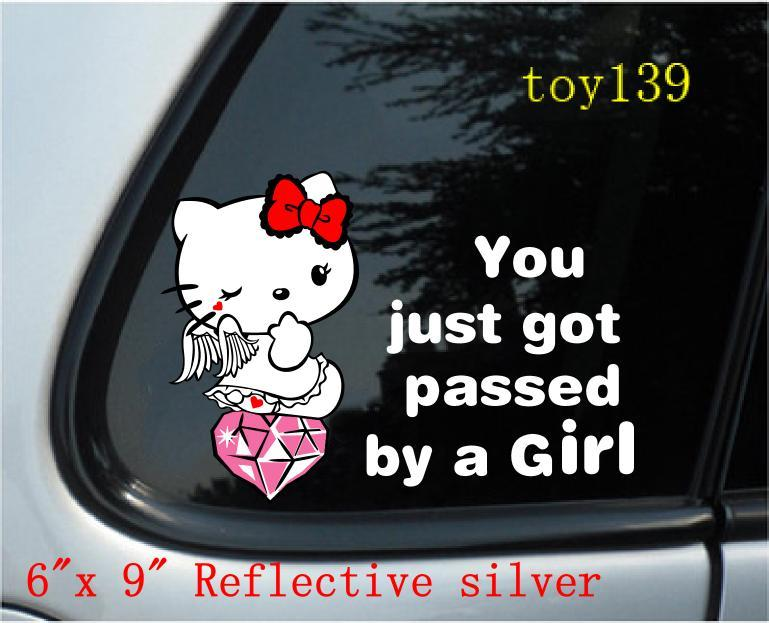 For hello kitty funny nice car phone window decal sticker stickers not afraid of water reflective silver online with 6 07 piece on mystickers store